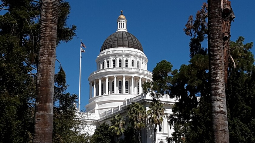 October 2020 view of the state Capitol building in Sacramento.