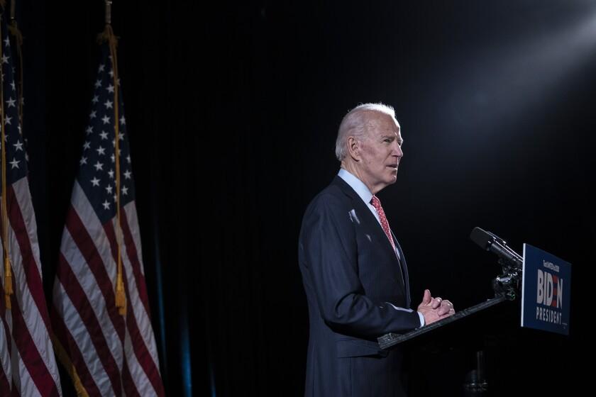 Joe Biden speaks about the coronavirus on March 12  in Wilmington, Del.