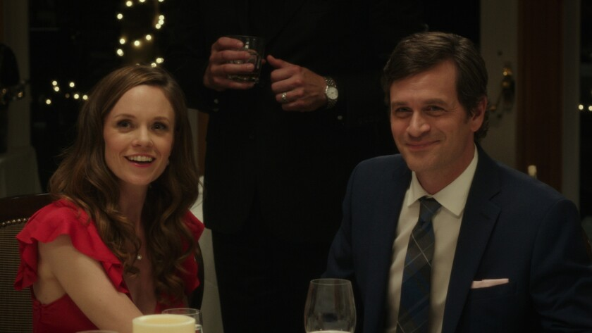 "(L-R) - Rachel Boston and Tom Everett Scott in a scene from the movie ""I Hate Kids."" Credit: Freest"