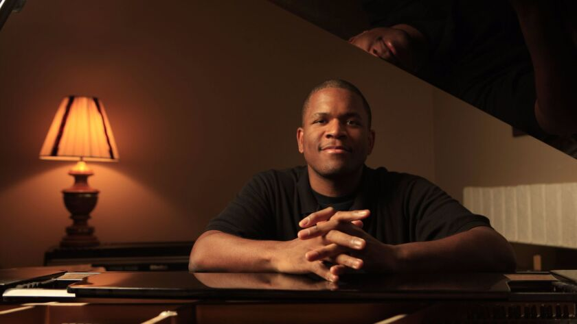 El Cajon, CA_1/15/2014_Award-wining pianist Joshua White who normally plays with his band in Los Ang