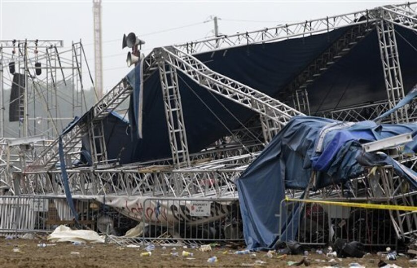 FILE - In this Aug. 14, 2011 file photo, Indiana State Police and authorities survey the collapsed rigging and Sugarland stage on the infield at the Indiana State Fair in Indianapolis. The stage collapse before a Sugarland concert was a late wake-up call for people who manage large public venues like concert grounds and football stadiums. Venue managers gathered in Norman, Okla., Tuesday and Wednesday, March 5-6, with weather forecasters and revealed there have been many close calls. (AP Photo/D