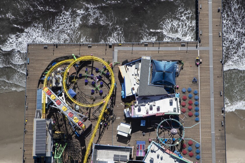 Aerial view of the Santa Monica Pier, with no people visible.