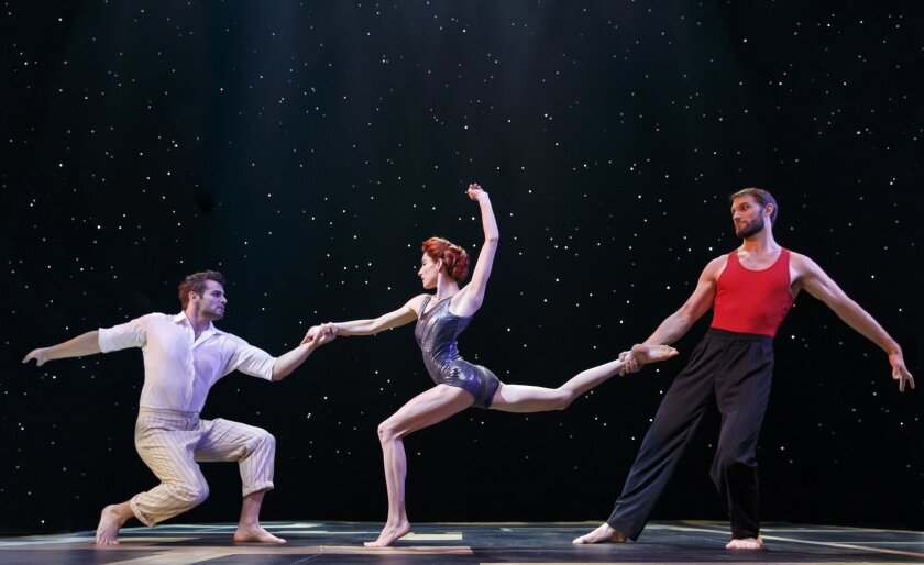 """This theater image released by Boneau/Bryan-Brown shows, from left, Martin Charrat, Myriam Deraiche and Samuel William Charlton during a performance of the Broadway show, """"Paramour,"""" in New York. (Joan Marcus/Boneau/Bryan-Brown via AP)"""