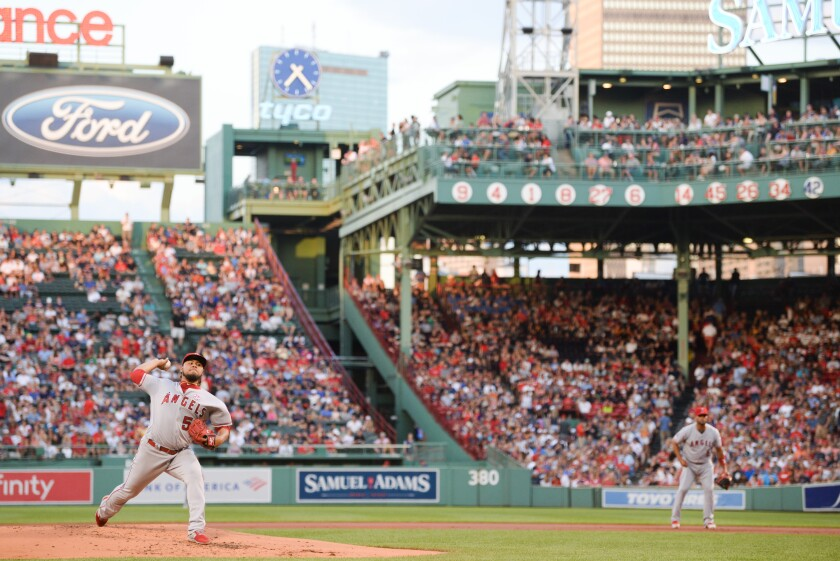 Angels starter Jaime Barria delivers against the Boston Red Sox at Fenway Park on Aug. 9.