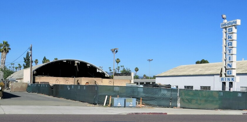 Demolition under way on the Ups-and-Downs Skating Rink on Broadway in Escondido.
