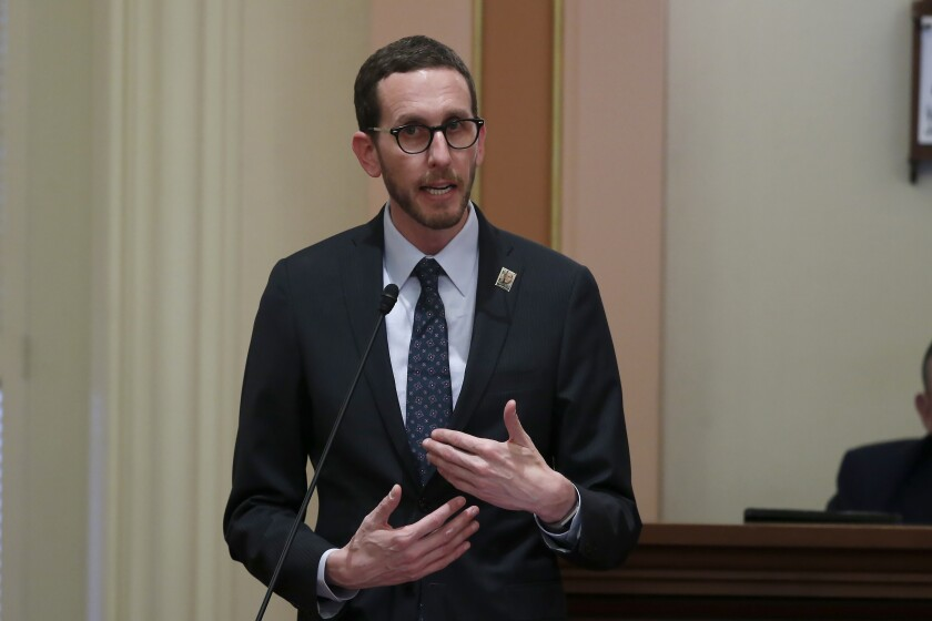 FILE — In this Jan 21, 2020 file photo Democratic state Sen. Scott Wiener speaks during the Senate session at the Capitol in Sacramento, Calif. On Friday, Sept. 10, 2021, lawmakers approved Wiener's bill that would stop police in California from arresting anyone for loitering with the intent to engage in prostitution. (AP Photo/Rich Pedroncelli, File)