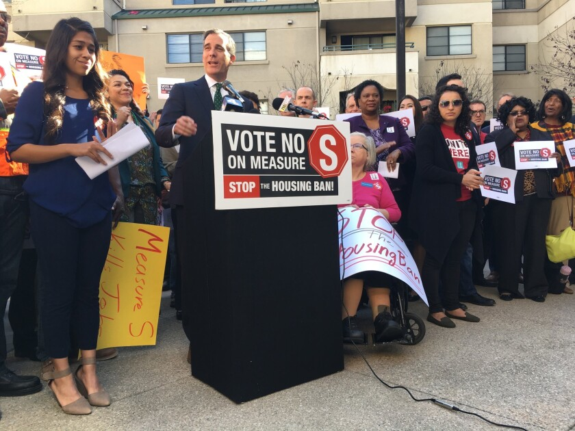 Los Angeles Mayor Eric Garcetti appeared Tuesday with leaders of labor unions, business groups and nonprofit organizations who oppose Measure S, which would impose new restrictions on real estate development.