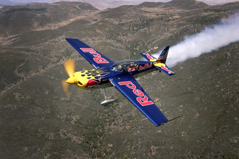 March 31, 2009 - Kirby Chambliss flies his Red Bull plane overs San Diego County. He will compete in the Red Bull Air Race World Series in San Diego in May. Photo by K.C. Alfred/The San Diego Union-Tribune