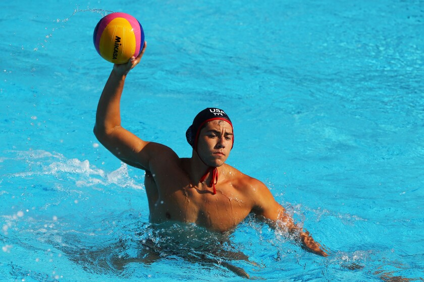 Chancellor Ramirez looks to pass during a match between the U.S. and South Africa at the 2013 FINA World Championships in Barcelona.