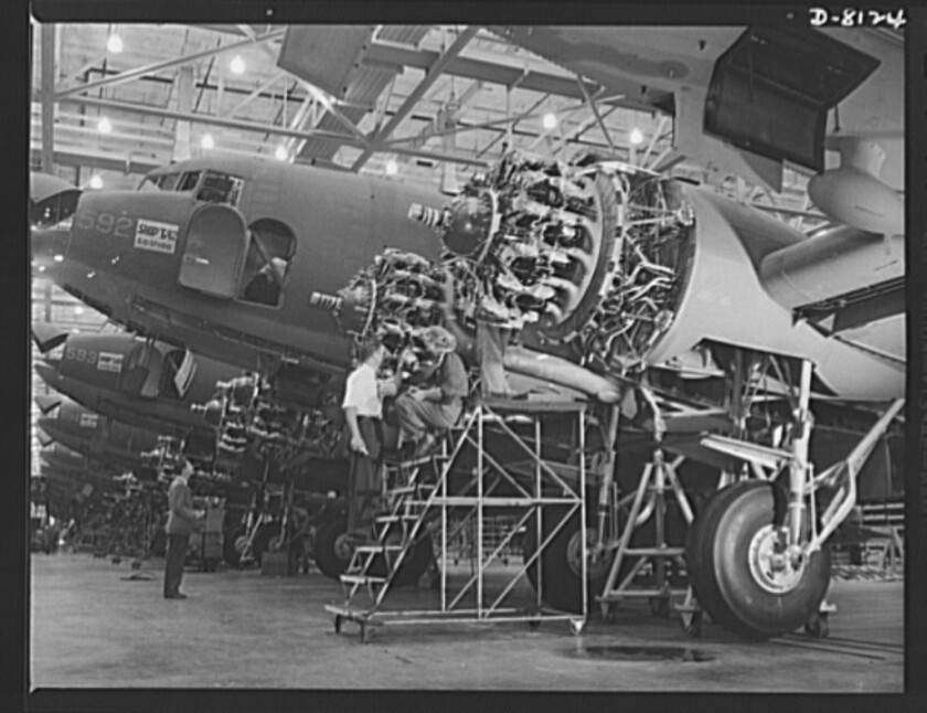 In October 1942, C-47 transport planes are put together on Douglas assembly lines in Long Beach.