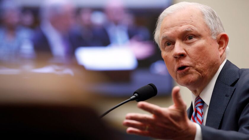 Atty. Gen. Jeff Sessions speaks during a House Judiciary Committee hearing on Capitol Hill on Tuesday.