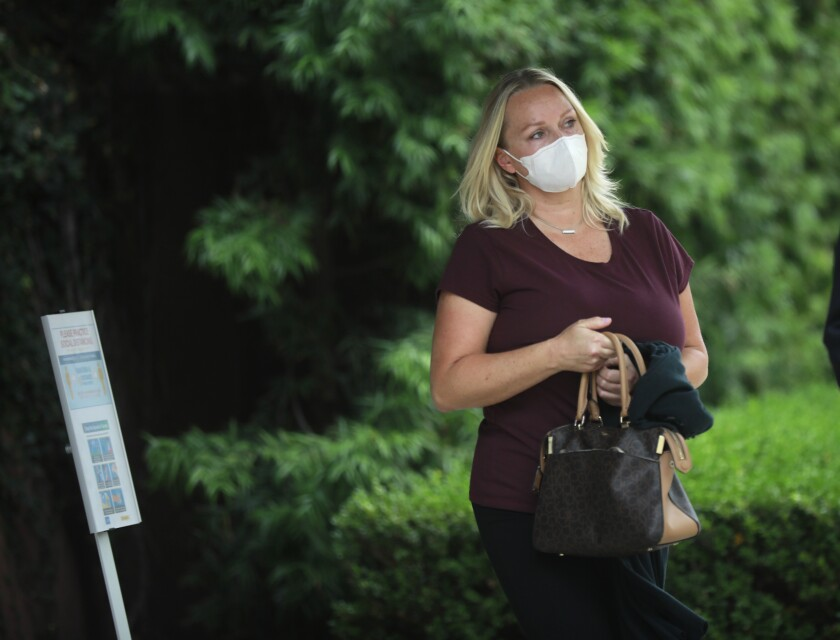 Margaret Hunter leaves a federal courthouse Monday.