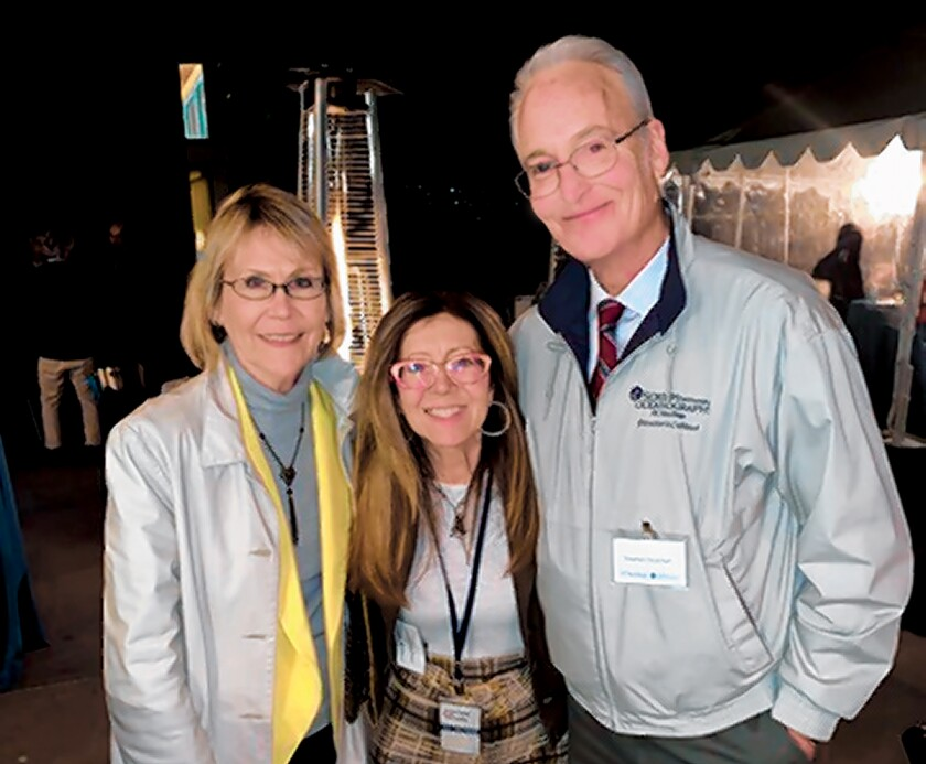 "Margaret Leinen, director Scripps Institution of Oceanography; Kitchen Shrink Catharine Kaufman; and Stephen Strachan, chair of the Director's Council at SIO. Scripps Institution of Oceanography's ""Fishing for the Future: A Celebration of Sustainable Seafood"" event was held Jan. 29, 2020 to benefit SIO's Marine Conservation and Technology Facility in La Jolla."