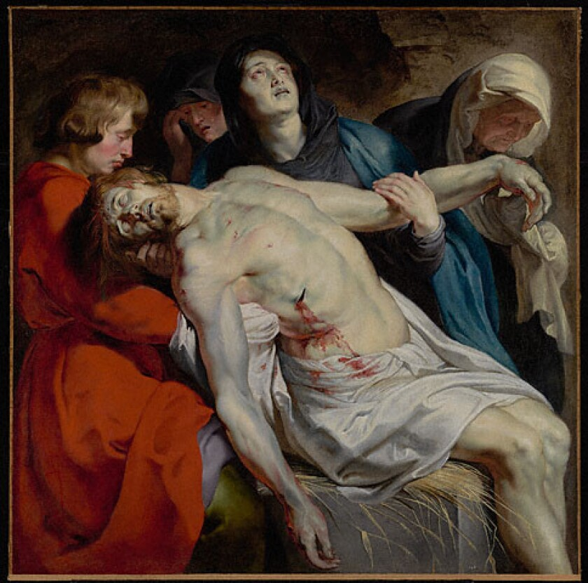 """""""The Entombment,"""" circa 1612, is at the entrance to """"Spectacular Rubens: The Triumph of the Eucharist,"""" a tapestry show at the Getty Museum."""