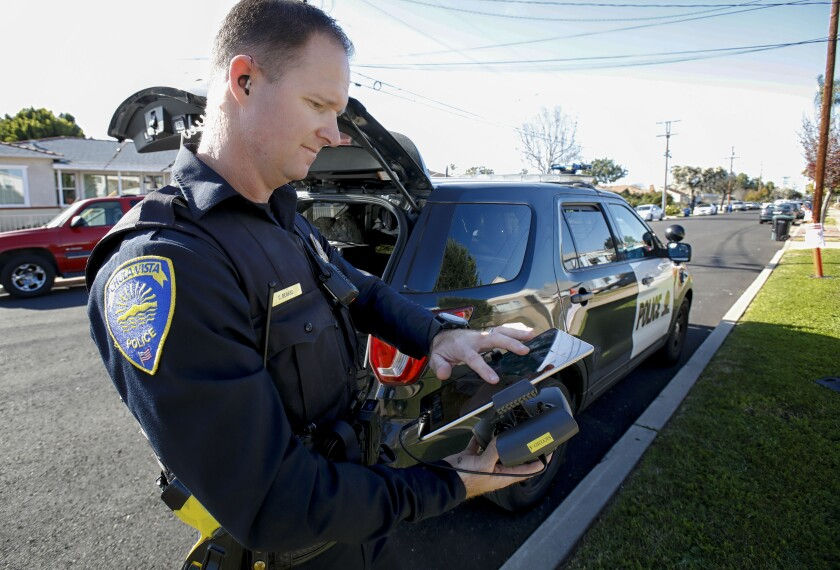 Chula Vista Police Officer, Christopher Bearss is one of the officers allowed to a carry a portable drone in his patrol vehicle.