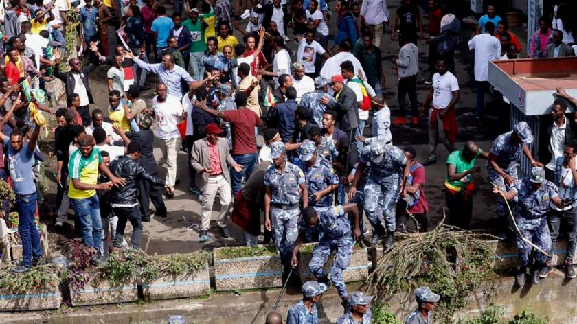 Ethiopian security forces descend on Meskel Square in Addis Ababa after the explosion.