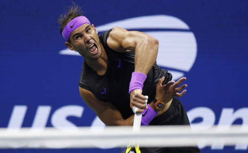 Rafael Nadal serves during his victory over Marin Cilic in the fourth round of the U.S. Open on Monday.
