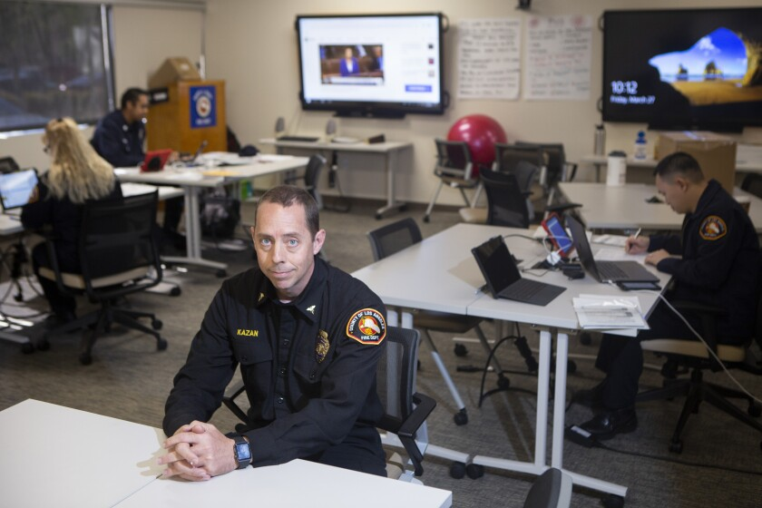 Clayton Kazan, an ER physician and medical director at the L.A. County Fire Department, at his office in Monterey Park. He is coordinating testing in the county.