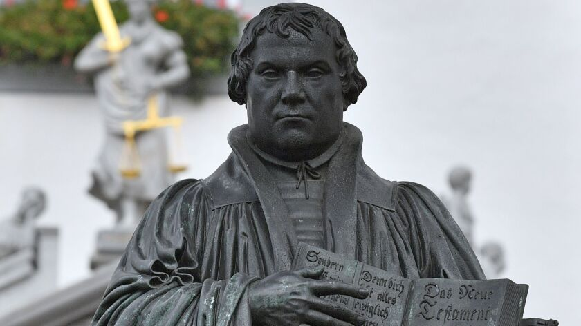 A statue of German Church reformer Martin Luther in Wittenberg, eastern Germany, on October 31, 2017.