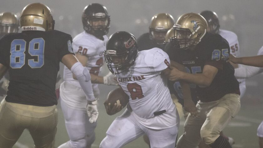 Castle Park senior Tyrone Lake scored all three touchdowns and gained 152 of the team's 202 total yards.