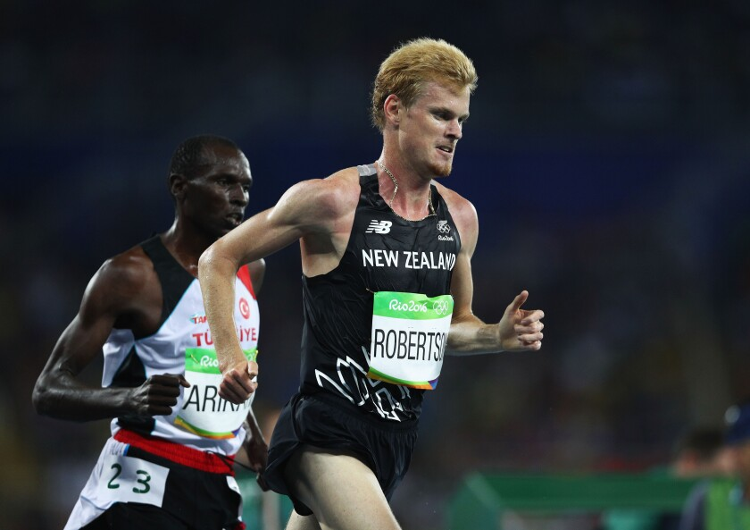 Zane Robertson set a New Zealand record when finishing 12th in the 10,000 meters at the Rio Olympics in 2016.