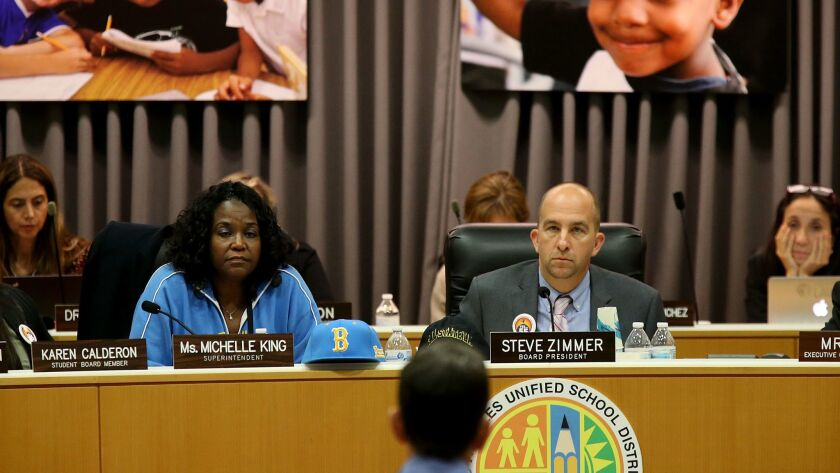 LAUSD Superintendent Michelle King, left, and LAUSD Board President Steve Zimmer during a board meeting in Los Angeles on Oct. 18.