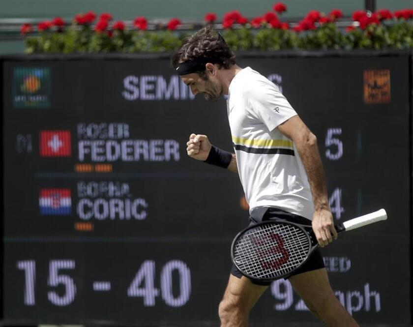 Roger Federer from Switzerland reacts in his semi-final match against Borna Coric from Croatia at the BNP Paribas Open at the Indian Wells Tennis Garden in Indian Wells, California. EFE