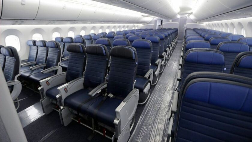 Economy-class seating is shown Jan. 26, 2016, on a United Airlines Boeing 787-9 undergoing final configuration and maintenance work at Seattle-Tacoma International Airport.