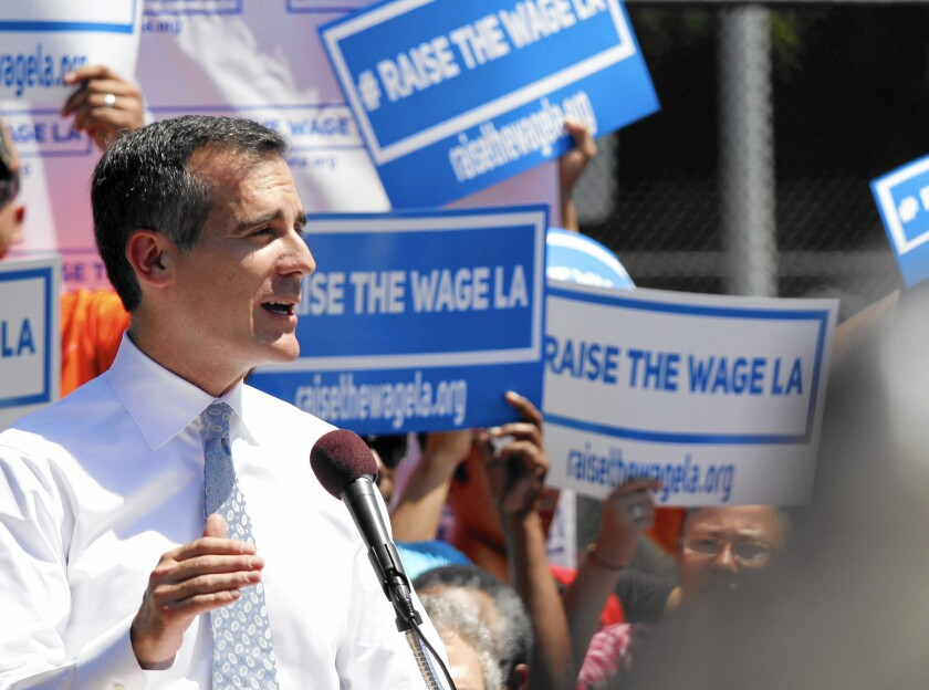 Los Angeles Mayor Eric Garcetti has said he wants the City Council to vote on the wage hike by January.
