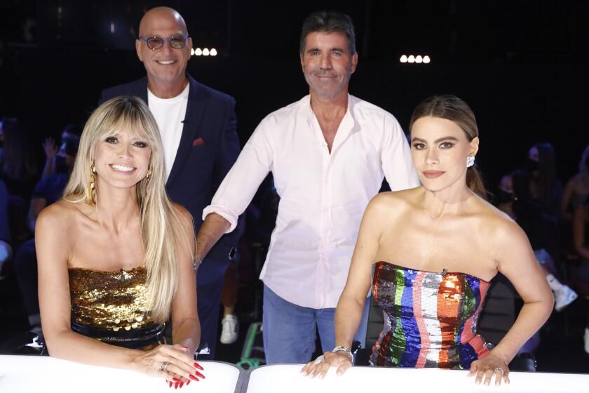 "Heidi Klum, left, Howie Mandel, Simon Cowell and Sofia Vergara in ""America's Got Talent"" on NBC."