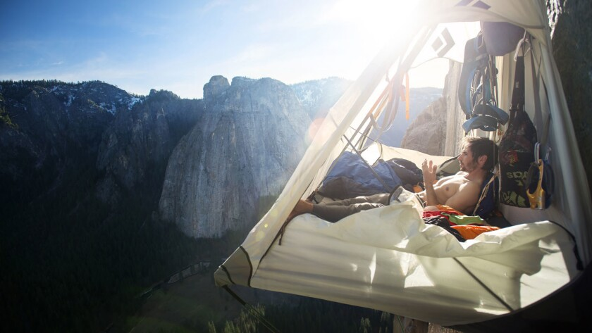 Kevin Jorgeson rests up before attempting to climb the hardest pitches of his life as soon as the su