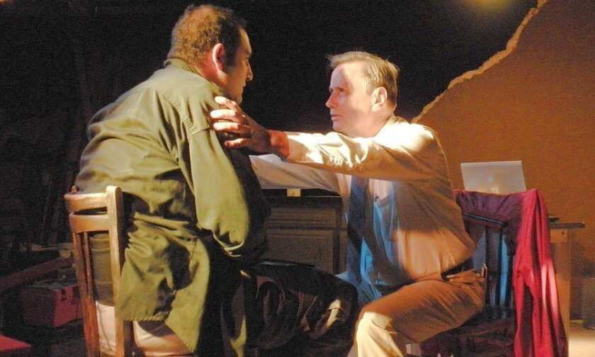 """Brian Abraham (left) and Walter Ritter in """"Back of the Throat,"""" by Yussef El Guindi. The playwright and play are new to San Diego."""