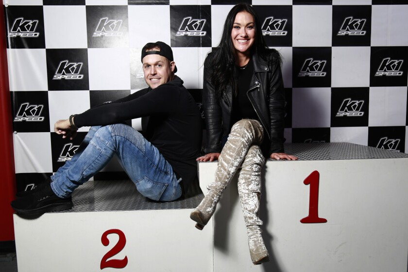Blind daters Chris and Ellie started their evening together go-kart racing at K1 Speed in Barrio Logan.