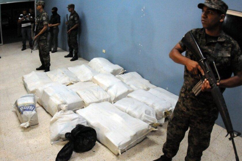 Honduran soldiers guard cocaine in a military base in Tegucigalpa, Honduras on Jan. 16.