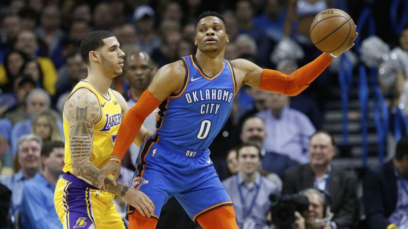 Lonzo Ball guards Russell Westbrook.