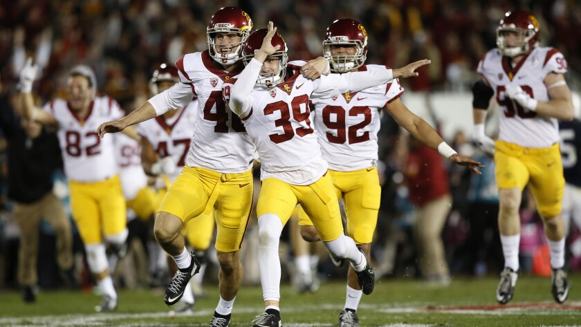 USC kicker Matt Boermeester (39) celebrates with teammates after making a 46-yard field goal as time expired to beat Penn State 52-49 in the Rose Bowl on Jan. 2.
