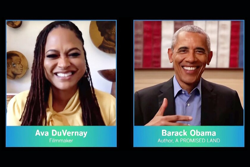 Former President Obama and filmmaker Ava DuVernay.