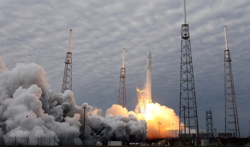 A SpaceX Falcon 9 rocket launches Friday, March 1, 2013 from Cape Canaveral Air Force Station for its second resupply mission to the international space station.