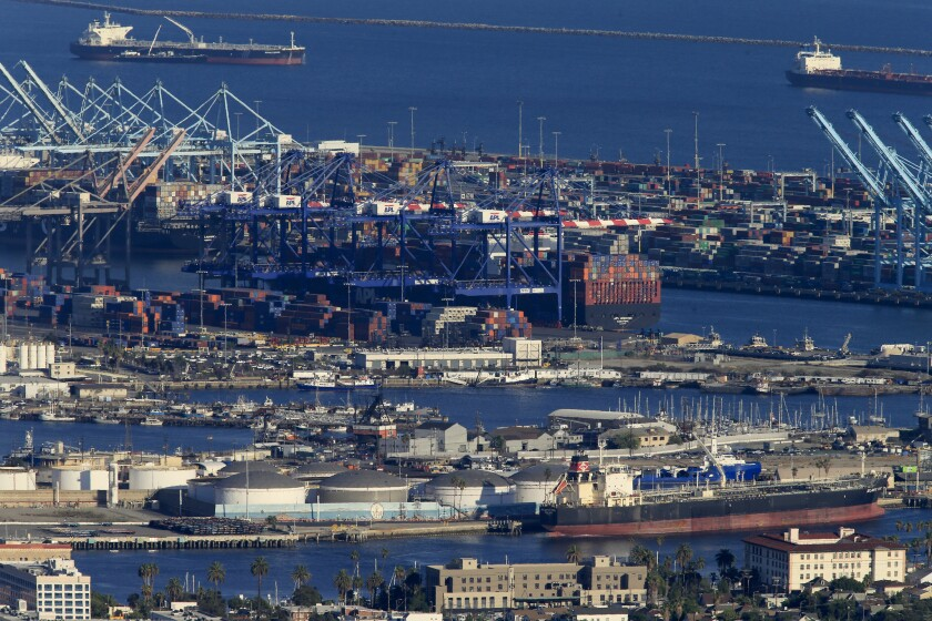 A view of operations at the Port of Los Angeles on Oct. 13.