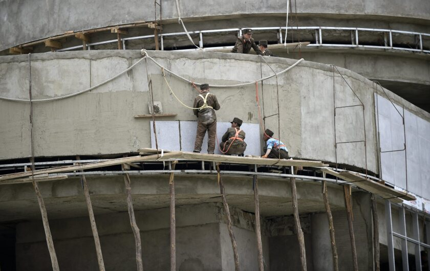 Workers at a construction site in Pyongyang, North Korea, on April 16, 2016