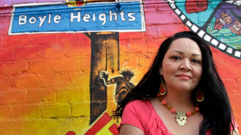 LOS ANGELES CA. JUN. 04, 2013. Playwright Josefina Lopez at the Casa 0101 theater mural in Boyle Hei