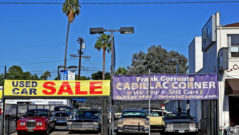 In this 2014 file photo, a view of Cadillac Corner in West Hollywood in Los Angeles. A shortage of older used cars is raising prices, hurting the working poor. (FG/Bauer-Griffin / GC Images)
