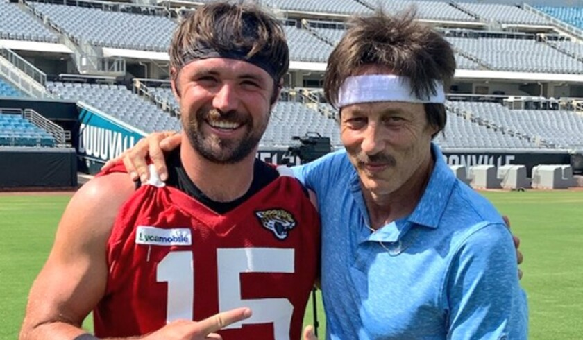 """Jacksonville Jaguars quarterback Gardner Minshew, left, met actor Jon Gries, a.k.a. Uncle Rico from """"Napoleon Dynamite,"""" on Thursday at TIAA Bank Field."""