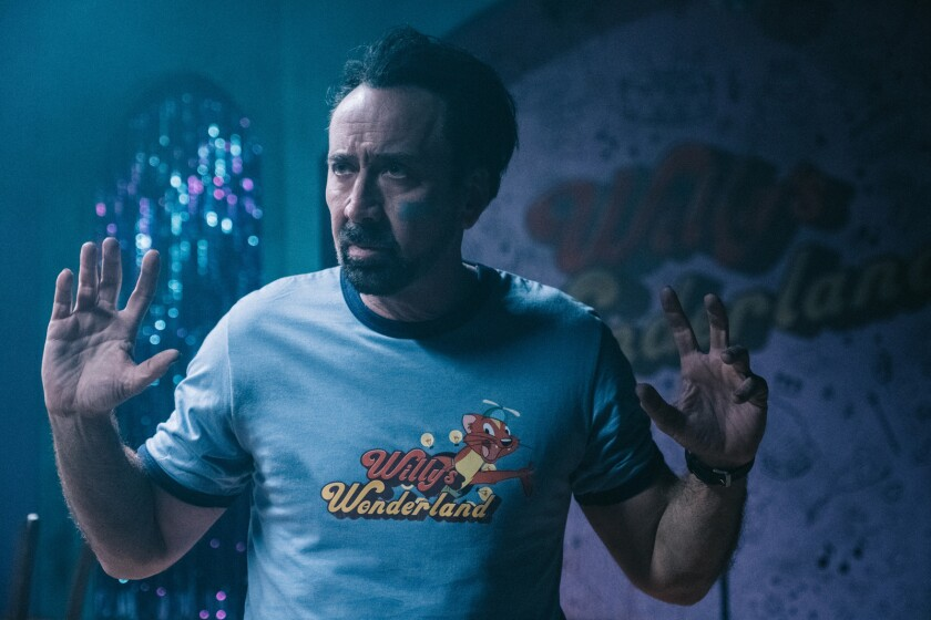 "Nicolas Cage in ""Willy's Wonderland."""