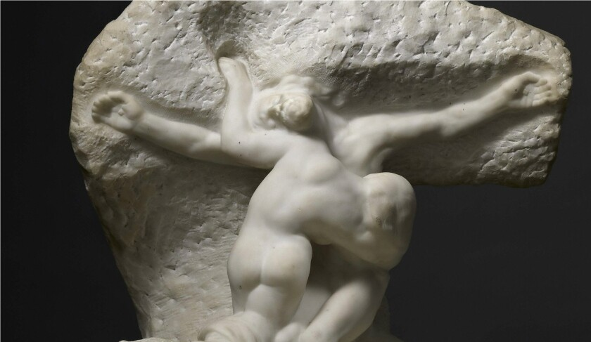 """The marble sculpture """"Christ and Mary Magdalene"""" by Auguste Rodin was recently acquired by the J. Paul Getty Museum."""
