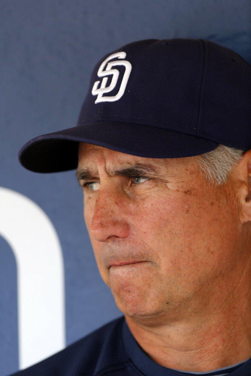 Padres manager Bud Black addresses the media during batting practice.