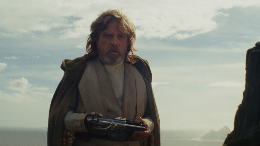 "Mark Hamill as 'Luke Skywalker' in a scene from the movie ""Star Wars: The Last Jedi."" Credit: Lucasf"