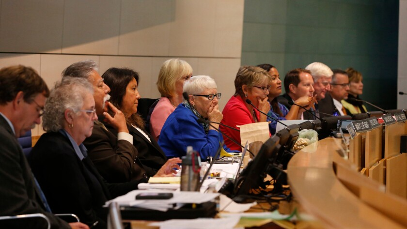 The California Coastal Commission listens to comments during a hearing in September.