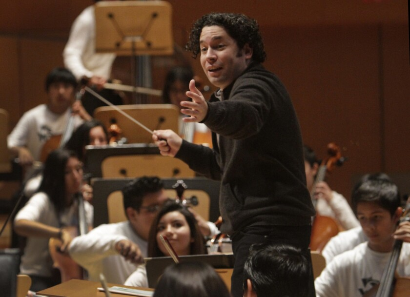 Gustavo Dudamel, conducting the Youth Orchestra Los Angeles at Walt Disney Concert Hall in 2014.