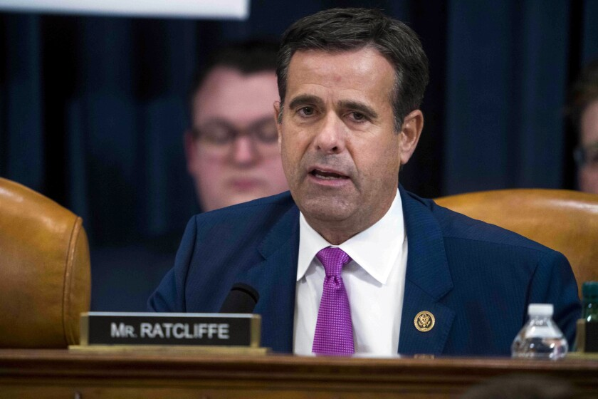 """FILE - In this Dec. 9, 2019, file photo, Rep. John Ratcliffe, R-Texas, during the House impeachment inquiry hearings in Washington. The Trump administration has ended all election security briefings to Congress just weeks before Americans cast their ballots for president. The top U.S. intelligence official, National Intelligence Director John Ratcliffe, told lawmakers Friday, Aug. 28, 2020 that they would only be receiving written updates about election security to help ensure the information """"is not misunderstood nor politicized."""" (Doug Mills/The New York Times via AP, Pool)"""